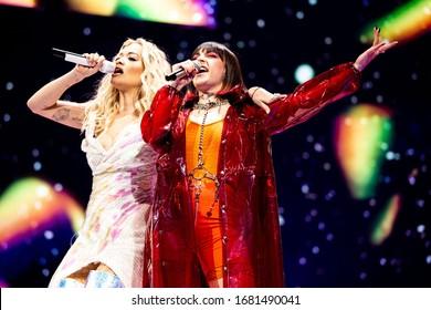 London, UK -  May 24th 2019:  Rita Ora and Charli XCX perform live at the O2 Arena,  London, England.