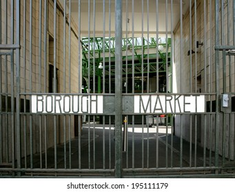 LONDON, UK - MAY 25, 2014: Borough Market gates on May 25, 2014. The art deco gates on Borough High Street are closed on Sunday, when the famous food market is shut.