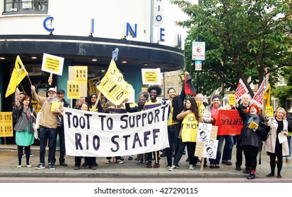 LONDON, UK - MAY 25, 2016: Rio Cinema workers strike over living wage and job cuts in London, England