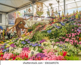 LONDON, UK - MAY 25, 2017: RHS Chelsea Flower Show 2017. Various flowers on the gold medal winner display in the Great Pavillion.