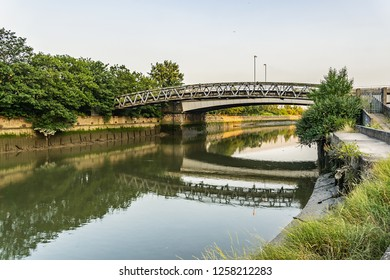 LONDON, UK - MAY 26, 2013: Bow Creek - 2.25-mile (3.6 km) long tidal estuary of the English River Lea and is part of the Bow Back Rivers.