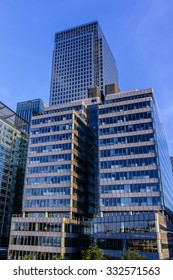 LONDON, UK - MAY 26, 2013: View of Canary Wharf Skyscrapers at evening. Canary Wharf is a major business district located in Borough of Tower Hamlets contains many of UK tallest skyscrapers.