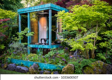 LONDON, UK - MAY 26, 2017: RHS Chelsea Flower Show 2017. Gosho No Niwa. No Wall, No War. Gold Medal winning Artisan Garden by Japanese master Kazuyki Ishihara.