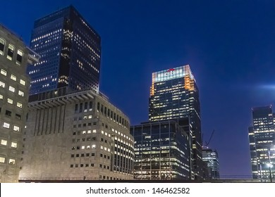 LONDON, UK - MAY 26: Citi HQ in UK at night on May 26, 2013, Canary Wharf, London, UK. Citi - American financial corporation, with world's largest financial network, spanning 140 countries.