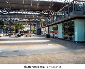 London, UK. May 26th 2020: Famous Spitalfields indoor market, temporarily closed due to Covid-19 outbreak. Is deserted and devoid of any people. Stalls, restaurants and shops closed. London Lockdown.