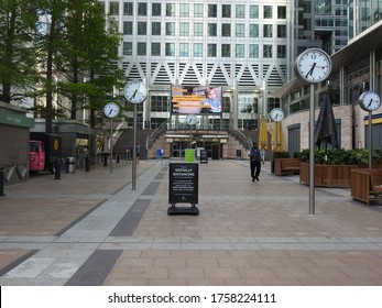 London / UK - May 26th 2020: Canary Wharf a normally busy financial office district in Docklands in London is empty during the coronavirus London Lockdown