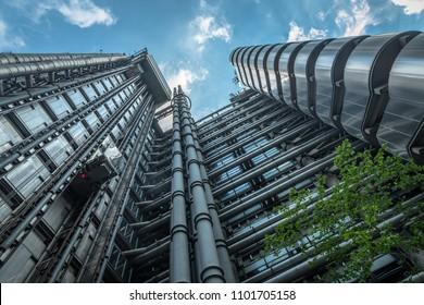 London, UK - May 27, 2018: London's Iconic Lloyd's Building.