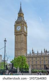 London, Uk May 28, 2017 Big Ben clock at colorful blue sky, Landmark of London, UK