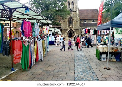 LONDON/ UK- MAY 28th 2018: People shopping in the historic market at Romford, London, essex