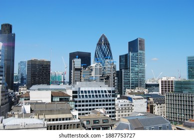 London, UK, May 29, 2009: View of the city skyscrapers from the Monument in London