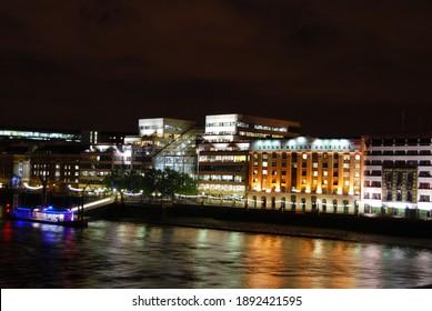 London, UK, May 29, 2009: London Bridge Hospital view from Thames at Night