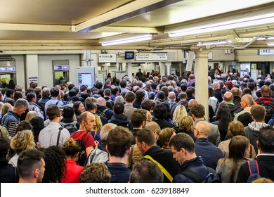 London, UK - May 29 2015: A lot of people entering London underground at rush hour