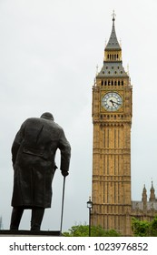 LONDON, UK - MAY 29, 2017: Statue of Winston Churchill, british politician and Prime Minister of the United Kingdom from 1940 to 1945 and from 1951 to 1955 with Big Ben in background in London, UK
