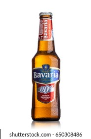 LONDON, UK - MAY 29, 2017: Bottle Of Bavaria Holland non alcoholic beer on white background.Bavaria is the second largest brewery in the Netherlands