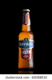 LONDON, UK - MAY 29, 2017: Bottle Of Bavaria Holland non alcoholic beer on black background.Bavaria is the second largest brewery in the Netherlands
