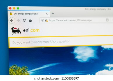 LONDON, UK - MAY 29TH 2018: The homepage of the official website for Eni - the Italian multinational oil and gas company, on 29th May 2018.