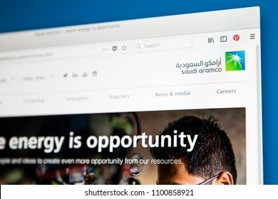 LONDON, UK - MAY 29TH 2018: The homepage of the official website for Saudi Aramco - a Saudi Arabian national petroleum and natural gas company, on 29th May 2018.