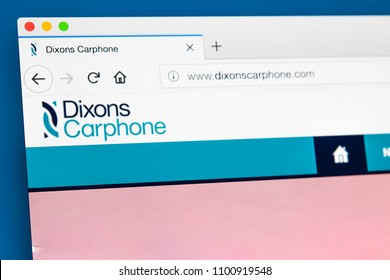 LONDON, UK - MAY 29TH 2018: The homepage of the official website for Dixons Carphone - the electrical and telecommunications retailer and services company, on 29th May 2018.