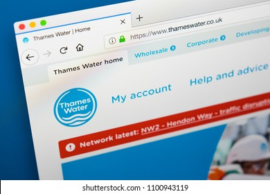 LONDON, UK - MAY 29TH 2018: The homepage of the website for Thames Water - the private utility company, on 29th May 2018.