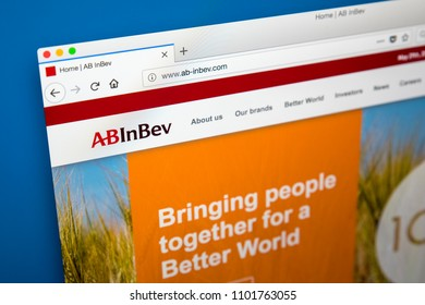 LONDON, UK - MAY 29TH 2018: The homepage of the official website for Anheuser-Busch InBev - the transnational beverage and brewing company, on 29th May 2018.