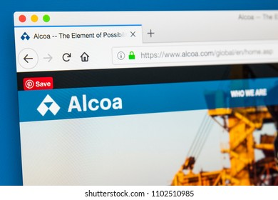 LONDON, UK - MAY 29TH 2018: The homepage of the official website for Alcoa - the American industrial corporation, on 29th May 2018.