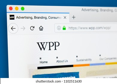 LONDON, UK - MAY 29TH 2018: The homepage of the official website for WPP plc - the British multinational advertising and public relations company, on 29th May 2018.
