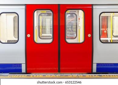 London, UK - May 30, 2017 - London underground train carriage waiting to depart at platform