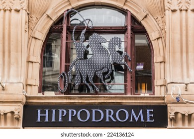 LONDON, UK - MAY 31, 2013: Famous London Hippodrome. London Hippodrome (1900, by Frank Matcham) - hippodrome for circus and variety performances. In 1983 building reopened as a nightclub / restaurant.