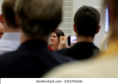 London / UK – May 31, 2019: Jo Swinson, Liberal Democrat MP for East Dunbartonshire, at the party's leadership election hustings at the City of London Academy in Highbury, north London