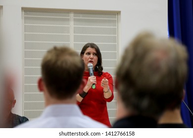 London / UK – May 31, 2019: Jo Swinson, Liberal Democrat MP for East Dunbartonshire, speaking at the party's leadership election hustings at the City of London Academy in Highbury, north London