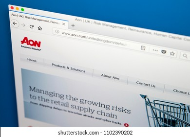 LONDON, UK - MAY 31ST 2018: The homepage of the official website for Aon plc - the global professional services firm providing risk, retirement and health consulting, on 31st May 2018.