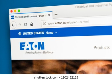 LONDON, UK - MAY 31ST 2018: The homepage of the official website for Eaton Corporation Plc - the multinational power management company, on 31st May 2018.