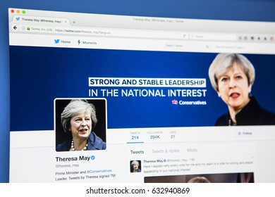 LONDON, UK - MAY 3RD 2017: The official twitter page for Theresa May - British Prime Minister and Conservative Party leader, on 3rd May 2017.