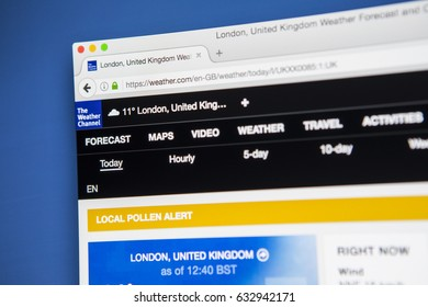 LONDON, UK - MAY 3RD 2017: Viewing The Weather Channel website on a computer screen, on 3rd May 2017.