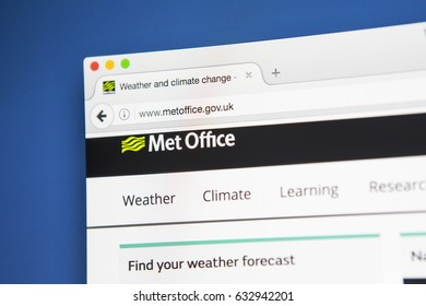 LONDON, UK - MAY 3RD 2017: Viewing the Met Office website on a computer screen, on 3rd May 2017.  The Met Office is the UKs national weather service.