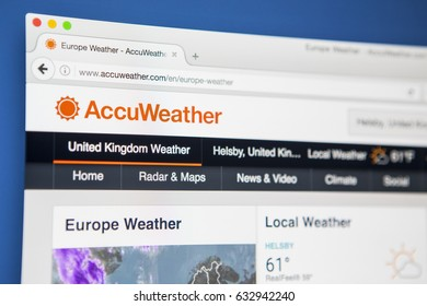 LONDON, UK - MAY 3RD 2017: Viewing the AccuWeather website on a computer screen, on 3rd May 2017.