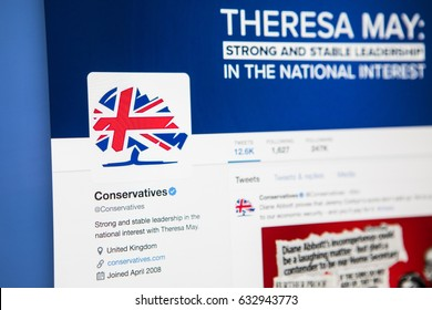 LONDON, UK - MAY 3RD 2017: The official twitter page for the Conservative Party, on 3rd May 2017.
