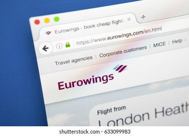 LONDON, UK - MAY 3RD 2017: The homepage of the official website for Eurowings, the German low-cost Airline owned by Lufthansa, on 3rd May 2017.