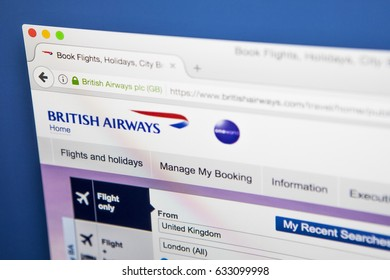 LONDON, UK - MAY 3RD 2017: The homepage of the official website for British Airways, the largest airline in the UK based on fleet size, on 3rd May 2017.
