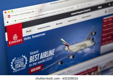LONDON, UK - MAY 3RD 2017: The homepage of the official website for Emirates, the largest airline in the Middle East, on 3rd May 2017.