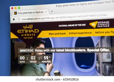 LONDON, UK - MAY 3RD 2017: The homepage of the official website for Etihad Airways, on 3rd May 2017.