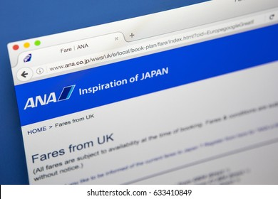LONDON, UK - MAY 3RD 2017: The homepage of the official website for All Nippon Airways, the largest airline in Japan, on 3rd May 2017.
