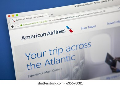 LONDON, UK - MAY 3RD 2017: The homepage of the official website for American Airlines, the largest airline in the world when measured by fleet size, on 3rd May 2017.
