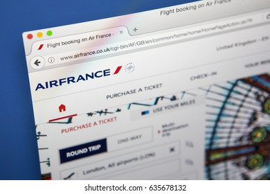 LONDON, UK - MAY 3RD 2017: The homepage of the official website for Air France, the flag carrier airline of France, on 3rd May 2017.