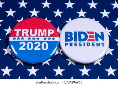 London, UK - May 5th 2020: Donald Trump and Joe Biden pin badges, pictured of the USA flag.  The two men will be battling eachother in the 2020 US Presidential Election.