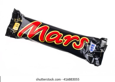 LONDON, UK - MAY 6TH 2016: An unopened Marc chocolate bar manufactured by Mars Inc, pictured over a plain white background on 6th May 2016.