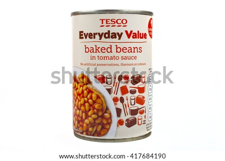 LONDON, UK - MAY 6TH 2016: A tin of Tesco Everyday Value Baked Beans isolated over a plain white background, on 6th May 2016.