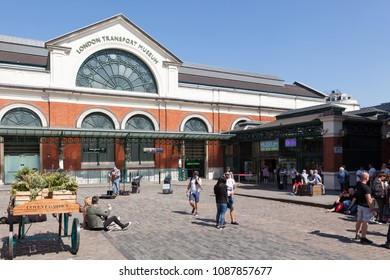 LONDON, UK - MAY 7, 2018: Outside view of the London Transport Museum in Covent Garden on a sunny day.