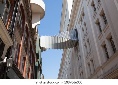 LONDON, UK - MAY 7, 2018: View of the Bridge of Aspiration which connects the Royal School of Ballet with the Royal Opera House in Covent Garden.