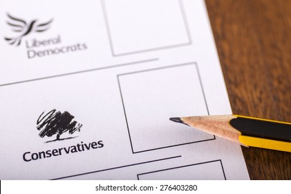 LONDON, UK - MAY 7TH 2015: Conservatives on a UK Ballot Paper for a General Election, on 7th May 2015.